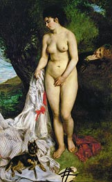 Bather with Griffon Terrier, 1870 by Renoir | Painting Reproduction