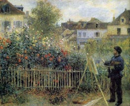 Claude Monet Painting in His Garden at Argenteuil, 1873 by Renoir | Painting Reproduction