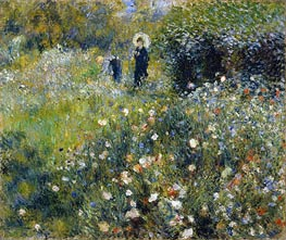 Woman with a Parasol in a Garden, 1875 by Renoir | Painting Reproduction