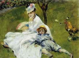 Camille Monet and Her Son Jean in the Garden, 1874 by Renoir | Painting Reproduction
