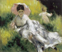 Woman with a Parasol and Child on a Sunlit Hillsid, c.1874/76 by Renoir | Painting Reproduction