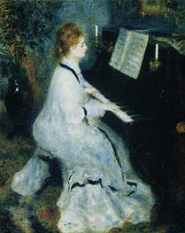 Young Woman at the Piano, 1875 by Renoir | Painting Reproduction
