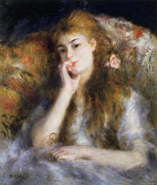 Young Woman Seated (The Thought), c.1876/77 by Renoir | Painting Reproduction