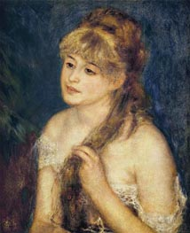 Young Woman Braiding Her Hair (Mademoisells Muller, 1876 by Renoir | Painting Reproduction