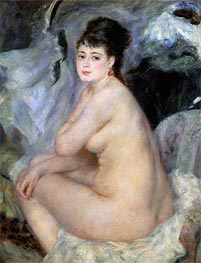 Nude Seated on a Sofa, 1876 by Renoir | Painting Reproduction
