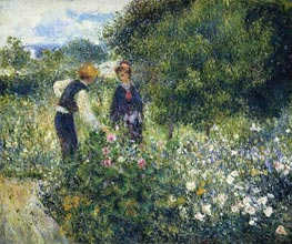 Picking Flowers, 1875 by Renoir | Painting Reproduction