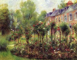 The Rose Garden at Wargemont, 1879 by Renoir | Painting Reproduction