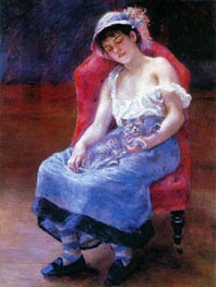 Sleeping Girl (Girl with a Cat), 1880 by Renoir | Painting Reproduction
