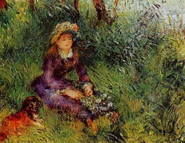Madame Renoir with a Dog, 1880 by Renoir | Painting Reproduction