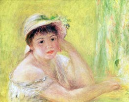 Woman with a Straw Hat (Alpphonsine Fournaise) | Renoir | Painting Reproduction