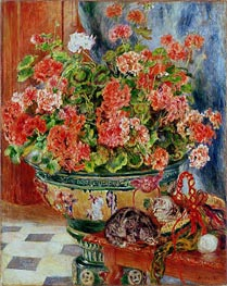 Geraniums and Cats | Renoir | Painting Reproduction