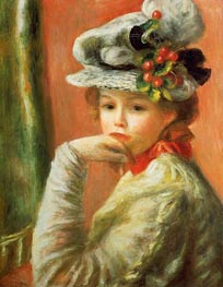 Young Girl in a White Hat, 1891 by Renoir | Painting Reproduction