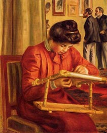 Christine Lerolle Embroidering, 1897 by Renoir | Painting Reproduction