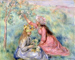 Girls Picking Flowers in a Meadow, c.1890 von Renoir | Gemälde-Reproduktion