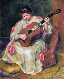 Woman Playing the Guitar | Renoir | Painting Reproduction