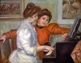 Yvonne and Christine Lerolle at the Piano, 1897 by Renoir | Painting Reproduction