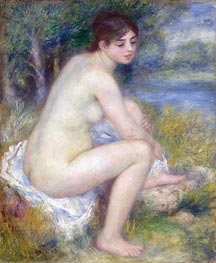 Female Nude in a Landscape (Seated Bather) | Renoir | Painting Reproduction