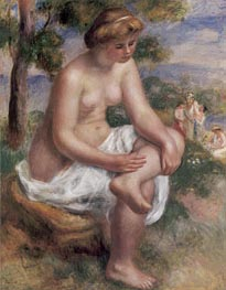 Seated Bather in a Landscape (Eurydice) | Renoir | Painting Reproduction