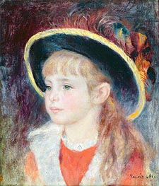 Jeanne Henriot (Girl in a Blue Hat), 1881 by Renoir | Painting Reproduction