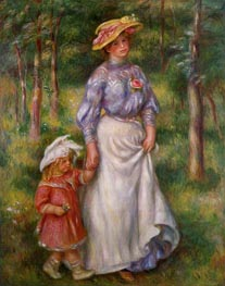 The Promenade (Julienne Dubanc and Adrienne), c.1906 by Renoir | Painting Reproduction