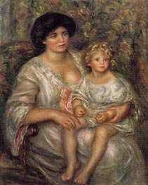 Madame Thurneyssan and Her Daughter, 1910 by Renoir | Painting Reproduction