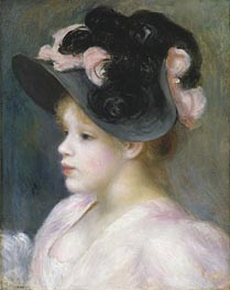 Young Girl in a Pink and Black Hat, c.1890 von Renoir | Gemälde-Reproduktion