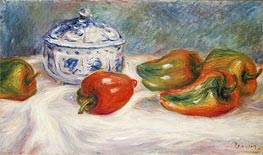 Still Life with a Blue Sugar Bowl and Peppers, c.1905 von Renoir | Gemälde-Reproduktion