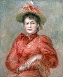 Young Woman in Red Dress | Renoir | Painting Reproduction