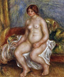 Nude Woman on Green Cushions, 1909 von Renoir | Gemälde-Reproduktion