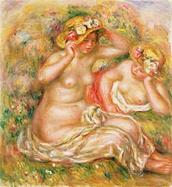 Two Nudes Wearing Hats, undated von Renoir | Gemälde-Reproduktion