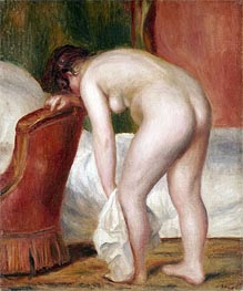 Female Nude Drying Herself, c.1909 von Renoir | Gemälde-Reproduktion