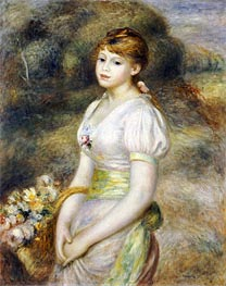 Young Girl with a Basket of Flowers | Renoir | Painting Reproduction