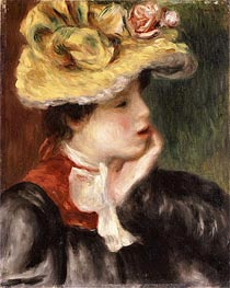 Head of a Girl with a Yellow Hat | Renoir | Painting Reproduction