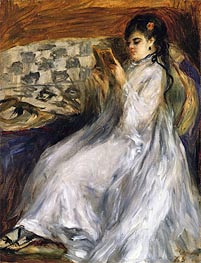 Woman in White Reading | Renoir | Painting Reproduction