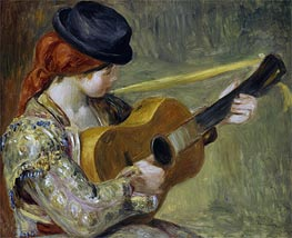 Girl with a Guitar   Renoir   Painting Reproduction
