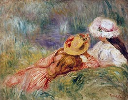 Young Girls on the River Bank | Renoir | Painting Reproduction