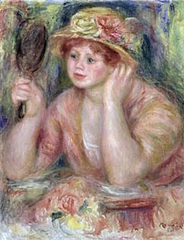 Woman with a Mirror | Renoir | Painting Reproduction