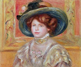 Young Woman in a Blue Hat | Renoir | Painting Reproduction