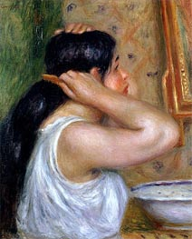 Girl Combing her Hair | Renoir | Painting Reproduction