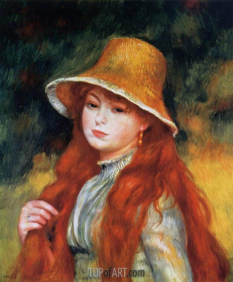 Young Girl in a Straw Hat, c.1884 | Renoir | Painting Reproduction