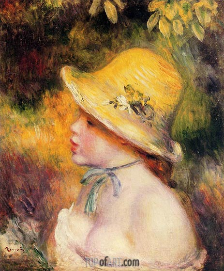 Young Girl in a Straw Hat, 1890 | Renoir | Painting Reproduction
