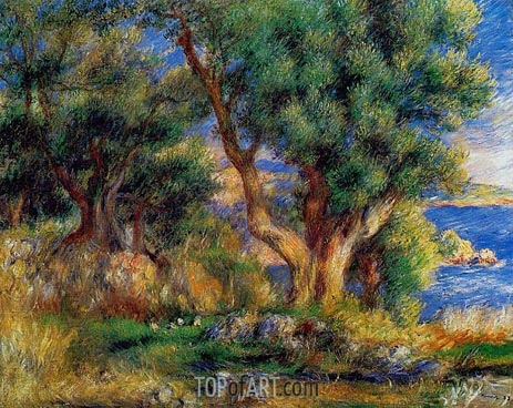 Landscape on the Coast, near Menton, 1883 | Renoir | Painting Reproduction