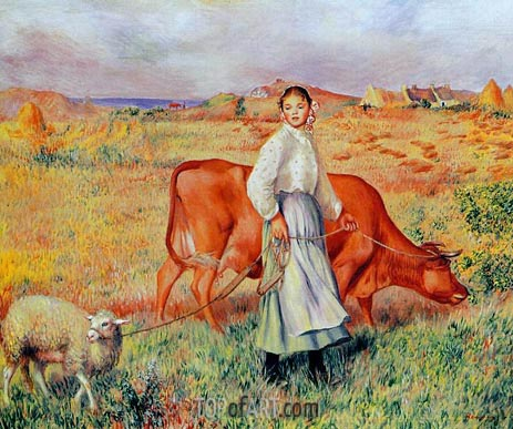 The Shepherdess, the Cow and the Ewe, c.1886/87 | Renoir | Painting Reproduction