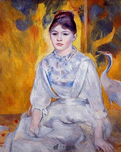 Young Woman with Crane, 1886 | Renoir | Painting Reproduction