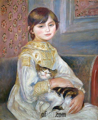 Child with Cat (Julie Manet), 1887 | Renoir | Painting Reproduction