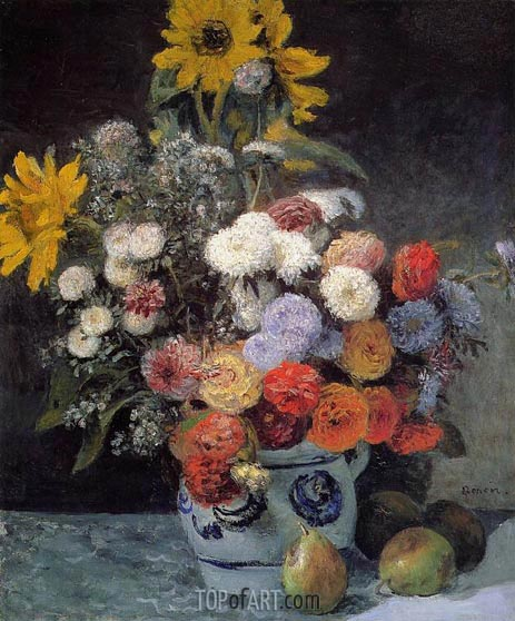 Mixed Flowers in an Earthenware Pot, c.1869 | Renoir | Painting Reproduction