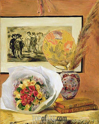 Still Life with Bouquet and Fan, 1871 | Renoir | Painting Reproduction