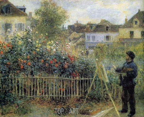 Claude Monet Painting in His Garden at Argenteuil, 1873 | Renoir | Gemälde Reproduktion