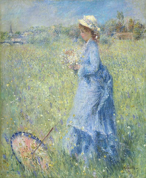 Girl Gathering Flowers, c.1872 | Renoir | Painting Reproduction