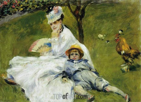 Camille Monet and Her Son Jean in the Garden, 1874 | Renoir | Painting Reproduction